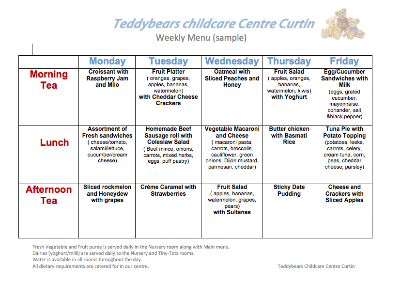 child care menu templates free - meals teddbears childcare centre